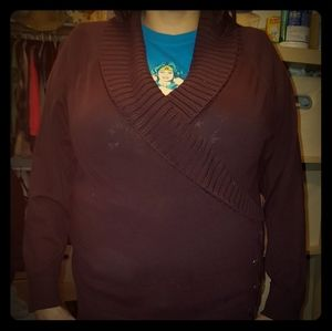 Style & Co 3x Brown Shawl Collar Sweater w/laces..